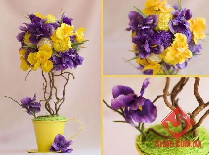 Желтый топиарий / Цветы из бумаги / В рукоделии